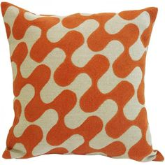 Ripple Cushion 43cm x 43cm Orange on Natural Linen  Hand Embroidered with Tapestry Wool onto 100% Linen ----- About the designer: Charlene Mullen From her training in both illustration, print and an established career in the fashion industry, she has successfully turned her talents to designing luxury homewares. Since the launch of the studio in September 2008 at 100% Design where she made the best newcomer list, she has won international acclaim having work shown in London, Paris, Milan and…