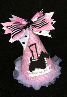 Preppy Puppy birthday party hat in pale pink, black and white with polka dots. $15.50, via Etsy.