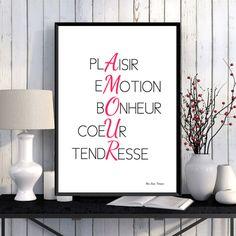 Illustration Amour Mots d'amour Affiche à imprimer
