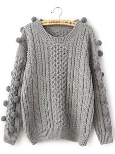 Grey Long Sleeve Twisted Ball Cable Knit Sweater - Sheinside.com