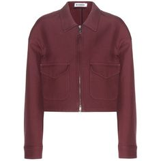 Jil Sander Cotton Jacket (2.825 RON) ❤ liked on Polyvore featuring outerwear, jackets, brown, red jacket, jil sander, red cotton jacket, burgundy jacket and brown cotton jacket