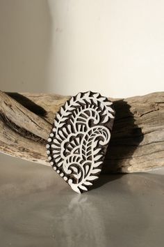 Hand carved wood textile block print stamp