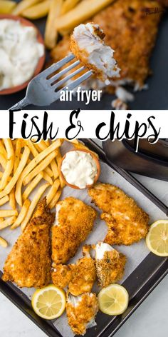 Air fryer fish and chips is a delicious easy fish fry made in the air fryer. Get crispy fish without deep frying. Cod or haddock is breaded and cooked in the air fryer for fish that is crunchy outside and flaky inside. This easy homemade fish and chips makes a great fish dinner! Pork Recipes For Dinner, Easy Appetizer Recipes, Oven Recipes, Side Dish Recipes, Seafood Recipes, Healthy Recipes, Family Recipes, Yummy Recipes, Recipies