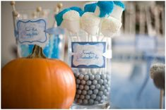 blue + white marshmallow pops for a Cinderella party!