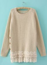 Beige Long Sleeve Side Buttons Lace and Rabbit Fur Hem Jumper $40.96
