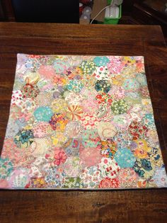 Liberty of London hand pieced hexagons, hand quilted European pillow made by Suzie Price The Quilters House 2014