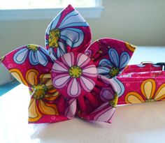 Dog Collar and Flower Set  Pink Blue and Yellow by katiesk9kollars, $21.00