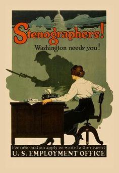 Stenographers! Washington Needs You! 28x42 Giclee on Canvas