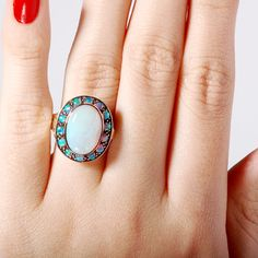 Antique Victorian Style Cluster Opal Gold Ring