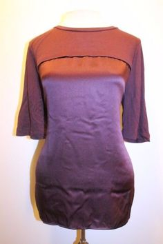 VINCE Top M Burgundy Red Modal Cashmere Blend Casual Career Tunic Blouse  #Vince #Tunic #Casual