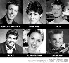The Young Avengers...love Hawkeye's hair. LOL!!