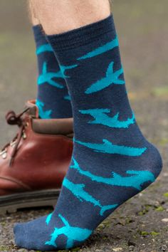 Careful dipping your toes into these shark-infested socks! You're gonna need a bigger foot (these are sized with men in mind, but they women's size 10 and up quite well)!