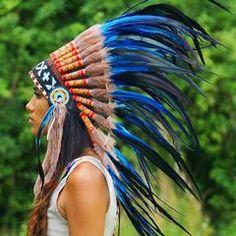 Royal Blue Native American Headdress - 75cm