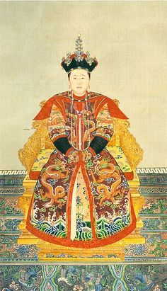 """This """"Portrait of Consort Zhuang in court costume"""" (莊妃朝服像) painted on a paper scroll (92 x 53 cm) represents Bumbutai (1613–1688), a Khorchin Mongol of the Borjigit clan who was one of the wives of Hong Taiji (1592–1643), the second emperor of the Qing dynasty. Named """"Consort Zhuang"""" in 1636, she became empress dowager when her five-year-old son Fulin succeeded Hong Taiji as the Shunzhi Emperor in 1643. She is known posthumously as Empress Dowager Xiaozhuang, circa between 1636 and 1643."""