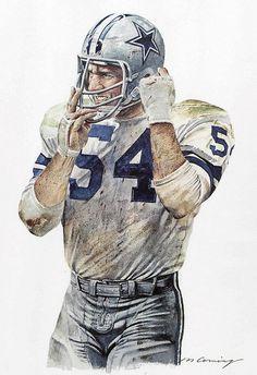 Chuck Howley of the Dallas Cowboys by Merv Corning