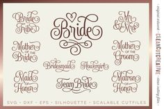 Bridal Party - Wedding Party - SET of 10 - SVG DXF EPS PNG - Cricut & Silhouette - clean cutting files  Like my work? Click 'ByCleanCutCreative' above and come take a look in my shop!