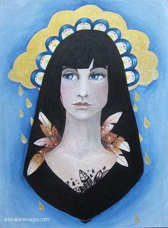 Peinture - Marina Le Floch - La madone de la pluie