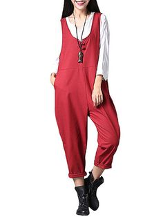 Vintage Solid Loose Harem Jumpsuit For Women