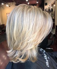 70 Brightest Medium Layered Haircuts to Light You Up - Two-Layer Feathered Blonde Cut - Medium Length Hair Cuts With Layers, Medium Hair Cuts, Short Hair Cuts, Medium Hair Styles, Curly Hair Styles, Blonde Hair Styles Medium Length, Medium Length Layered Bob, Long Layered, Medium Layered Haircuts