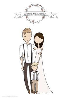 wedding invitations custom portrait illustration