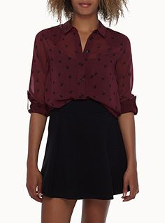 Printed voile blouse | Simons