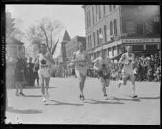Gerard Cote, Les Pawson, Johnny Kelley and unknown runner pass through Natick in the 1945 Boston Marathon.