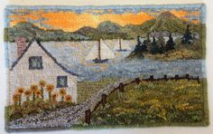 "SUMMER SAILING - Rug Hooking Pattern Hand Drawn on linen backing 10"" x 16"""
