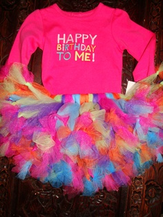 Happy Birthday To Me First Birthday Girls Tutu Skirt & Embroidered Onesie Shirt Top  (liz alred) this is the one