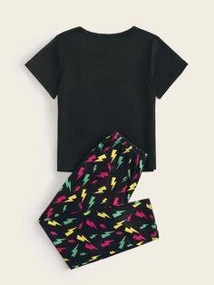 Boys Lightning Print Pajama Set – Agodeal Satin Pj Set, Sleepwear & Loungewear, Pj Sets, Pajama Set, Lounge Wear, Short Sleeves, Lightning, Casual, Fabric