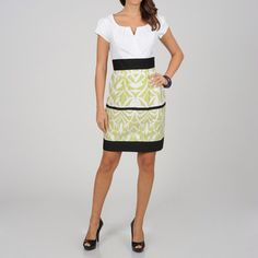 @Overstock.com - Add some fresh color to your wardrobe with this two-tone sheath dress from CeCes New York. This cap-sleeve dress has a banded empire waist and a trendy surplice neckline.http://www.overstock.com/Clothing-Shoes/CeCes-New-York-Womens-Lime-Abstract-Border-Two-tone-Sheath-Dress/7747562/product.html?CID=214117 $49.49