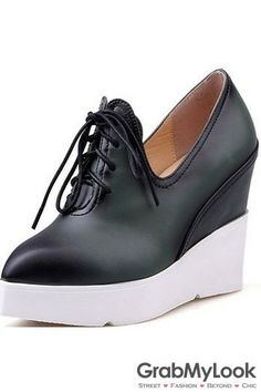 7a47d0ed190a Black Brown Leather Point Head Lace Up White Platforms Wedges Women  Sneakers Shoes