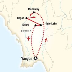 Map of the route for Burma Adventure