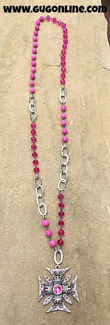 Silver Chopper Cross with AB Crystals on Pink and Silver  Chain Necklace $56.95 www.gugonline.com