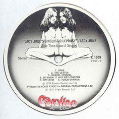 "Lady June ""Lady June's Linguistic Leprosory"" 1974 Roger Dean, Virgin Records, Label Design, June, Lettering, Lady, Nth Root, Drawing Letters, Brush Lettering"