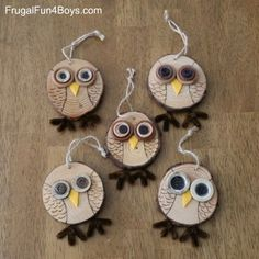 Wood Slice Owl Ornament Craft: