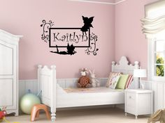 Custom Name Fairy Tinkerbell Vinyl Wall Decal Sticker C0301. $27.99, via Etsy.