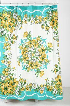 Vintage-inspired floral handkerchief shower curtain <3