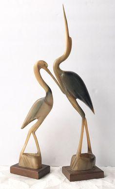 Vintage Hand Carved Pair Crane Heron Buf on Mercari Woodworking Art Ideas, Cement Art, Crane Bird, Wooden Figurines, Wood Bird, Wood Carving Art, Bird Sculpture, Pencil Art Drawings, Wooden Wall Art
