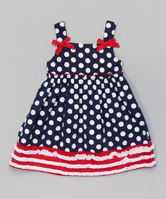 Navy Polka Dot Babydoll Dress - Girls by Sophie & Sam #zulily #zulilyfinds