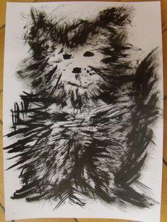 Pejsek (kočka) - malba tuší a kartáčkem Animals, Animales, Animaux, Animal, Animais