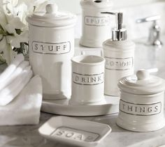 "super cute text-y bath accessories. i love that it says ""things"""
