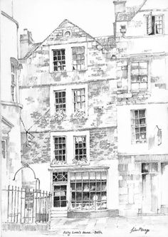 Sally Lunns Bath UK size print of a pencil drawing by john menage Kingston House, Bath Uk, Building Illustration, Listed Building, A4 Size, Art Forms, Les Oeuvres, Sally, Pencil Drawings