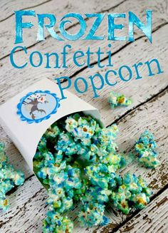 Frozen Confetti Popcorn (Popcorn, Blue Candy Melts  Various Sprinkles of Your Choice.  I Used Blue  White to Keep With the FROZEN Theme  l  Pink Cake Plate