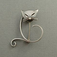 Vintage Mexican Taxco STERLING Silver CAT Brooch Modernist EAGLE Hallmarks c.1950s #MexicoSterling #TaxcoBrooch