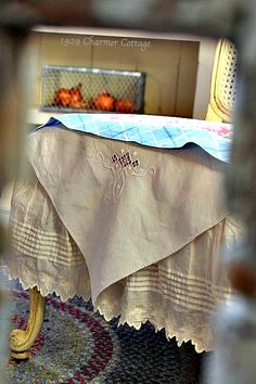 My 1929 Charmer | Vintage Linen Chair Covers {No Sew} | http://my1929charmer.com