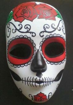 Hand Painted Day of the Dead Mask by readytohangbylisa on Etsy Day Of The Dead Mask, Day Of The Dead Skull, Mascaras Halloween, Halloween Masks, Mexican Mask, Painted Rocks, Hand Painted, Ceramic Mask, Mask Painting