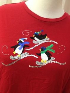 Women's Red Christmas Penguin Snow Top Shirt Tee TShirt Size XXL Long Sleeve  #Target #KnitTop #Holiday