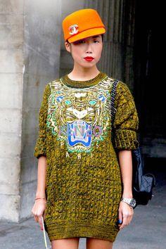OKSANA ON An embroidered sweater dress makes the perfect fall wardrobe staple. - ELLE.com