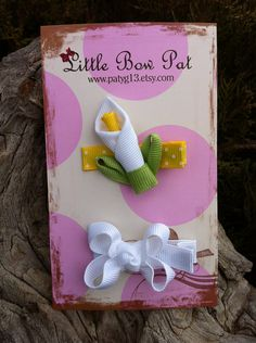 Easter Lily Ribbon Sculpture Set by patyg13 on Etsy, $4.00