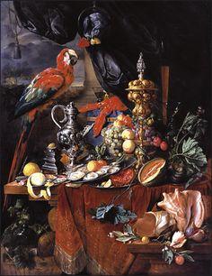 "Still Life With Parrots by Jan Davidsz de Heem 1640. ornate still life ""pronkstileven"""